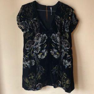 Free people black floral velvet dress